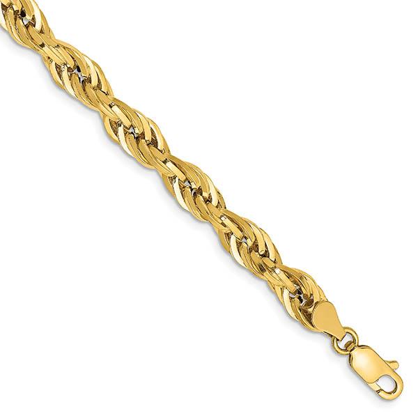14K Gold Semi-Solid 5.4mm Rope Bracelet for Women