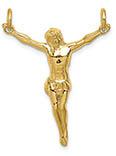 14K Yellow Gold Polished Jesus Corpus Pendant