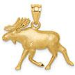 14K Gold Alaskan Moose Pendant