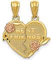14K Gold and Rose Best Friends Break-Apart Heart Pendant