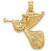 14K Gold Angel Pendant Blowing Trumpet