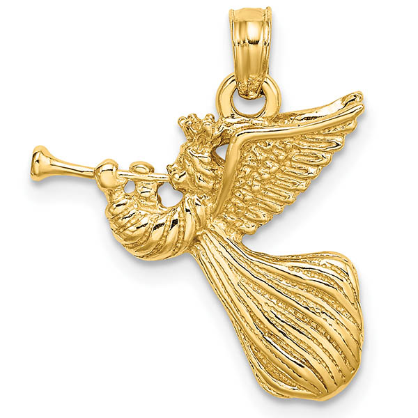 14K Gold Angel Pendant Blowing Trumpet