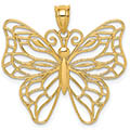 14K Gold Open Buttery Necklace Pendant