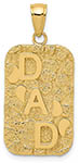 14K Gold Dad Nugget Dog Tag Necklace Pendant