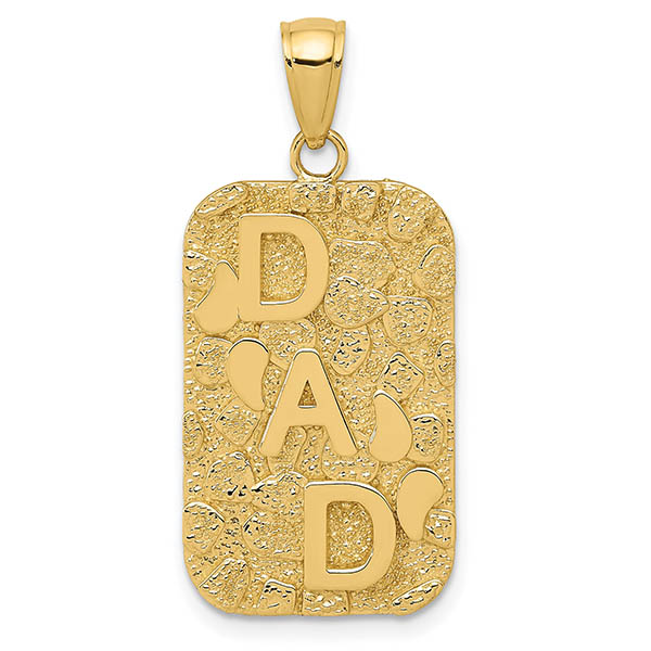 14K Gold Dad Nugget Dog Tag Necklace Pendant