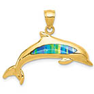 14K Gold Dolphin Pendant with Created Opal Gemstones