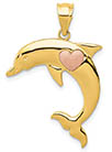 14K Gold Dolphin with Rose Gold Heart Pendant