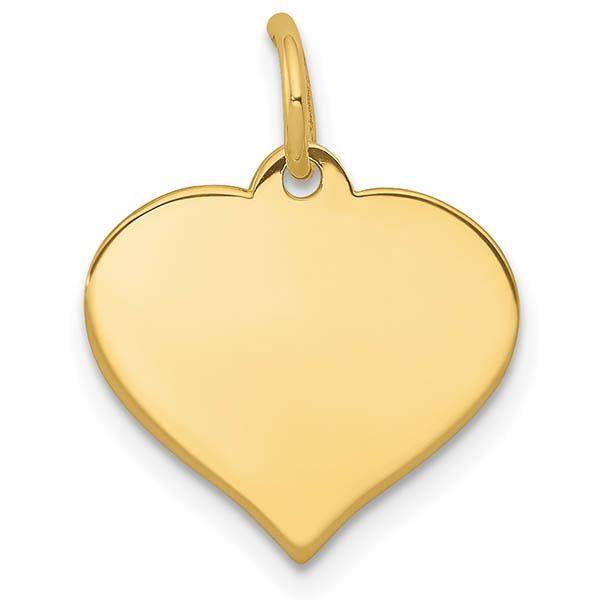 14K Gold Engravable Heart Necklace Pendant