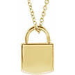 14K Gold Engravable Padlock Necklace
