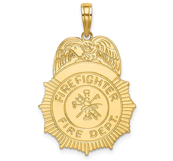 14K Gold Firefighter Badge Pendant Necklace