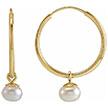 Small 14K Gold Freshwater Pearl Hoop Earrings