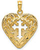 14K Gold Lace Heart Cross Reversible Pendant