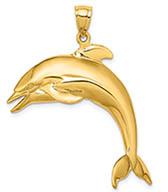 14K Gold Large 3D Dolphin Pendant