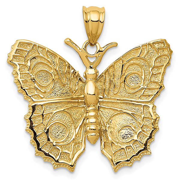 14K Gold Textured Butterfly Necklace Pendant