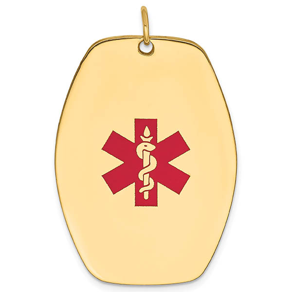 Large 14K Gold Medical ID Oval Dog Tag Necklace