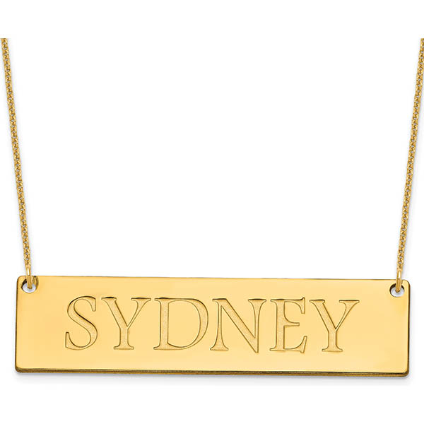 14K Gold Large Name Plate Necklace for Women