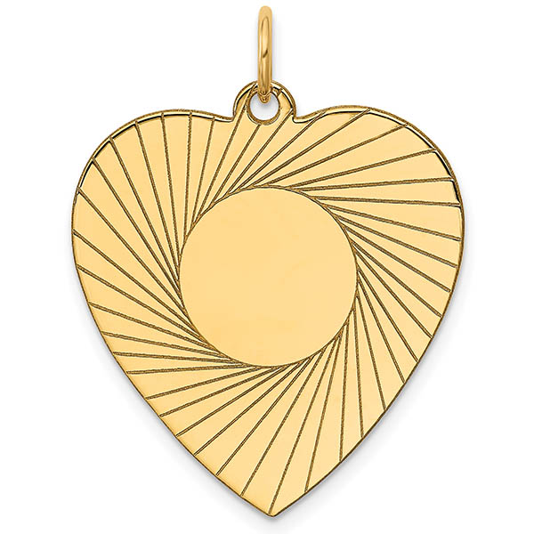 14K Gold Laser Engraved Personalized Heart Charm Pendant