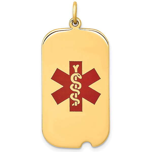 14K Gold Medical ID Dog Tag Necklace