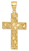 14K Gold Men's Nugget Cross Pendant