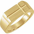 14K Gold Men's Rectangle Cross Signet Ring