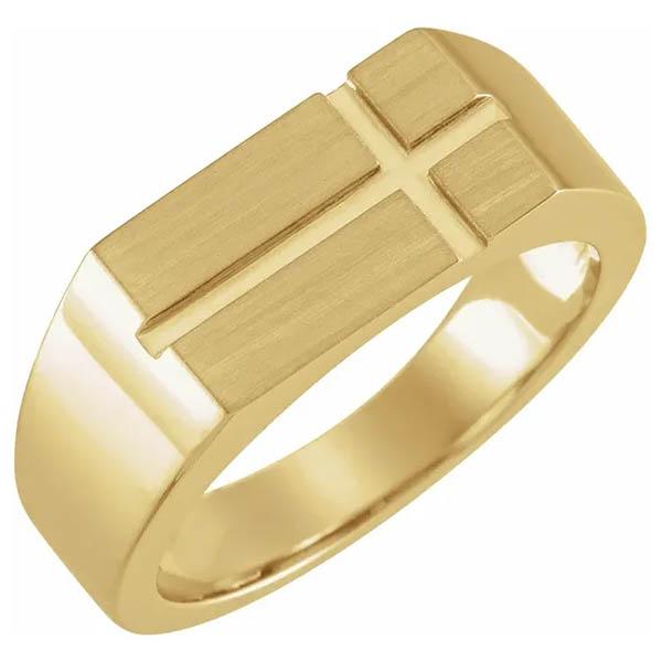 14K Gold Men's Rectangle Cross Signet Ring