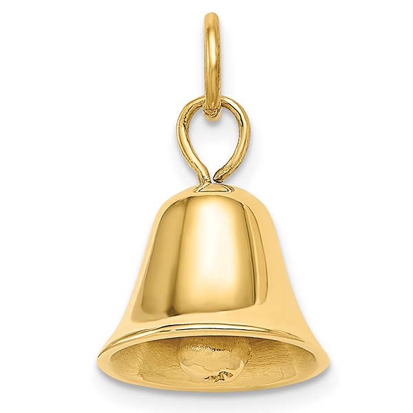 14K Gold Movable Wedding Bell Pendant