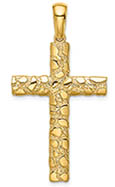 14K Gold Nugget Cross Necklace for Men