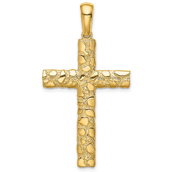 14K Gold Nugget Cross Necklaces for Men