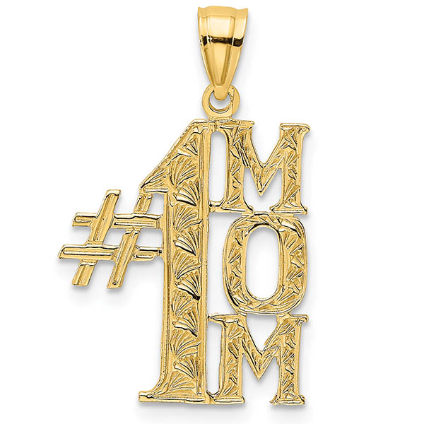 14K Gold #1 Mom Vertical Pendant Necklace