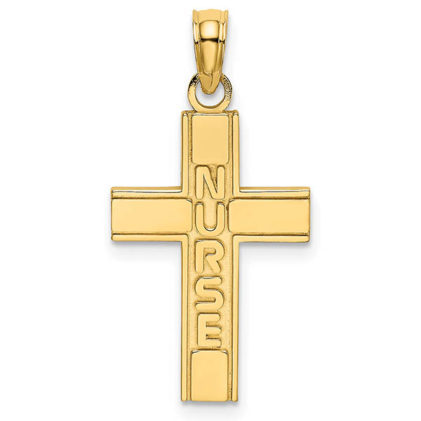 14K Gold Nurse RN Cross Pendant or Necklace