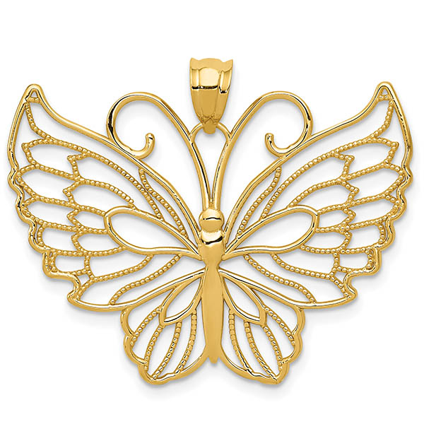 14K Gold Large Open Butterfly Necklace Pendant