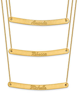 14K Gold Personalized 3 Chain 3 Name Plate Necklace