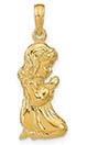 14K Gold Praying Girl Necklace Pendant