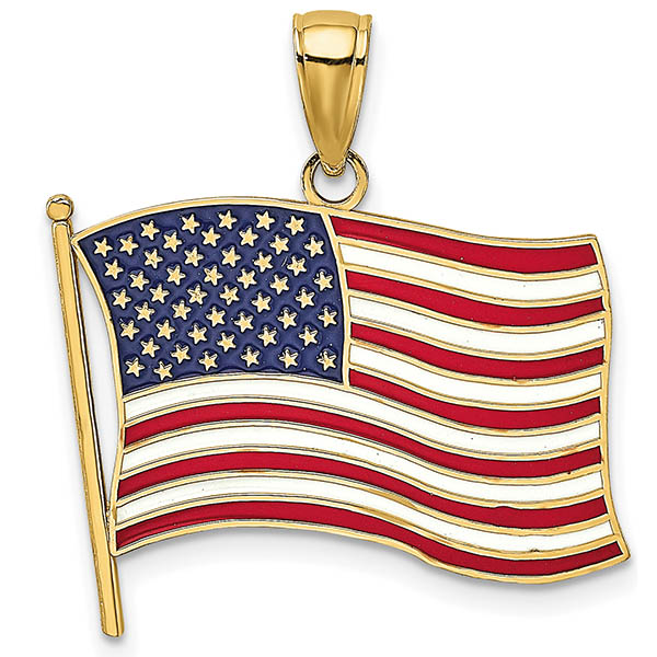 14K Gold Red, White & Blue American Flag Necklace