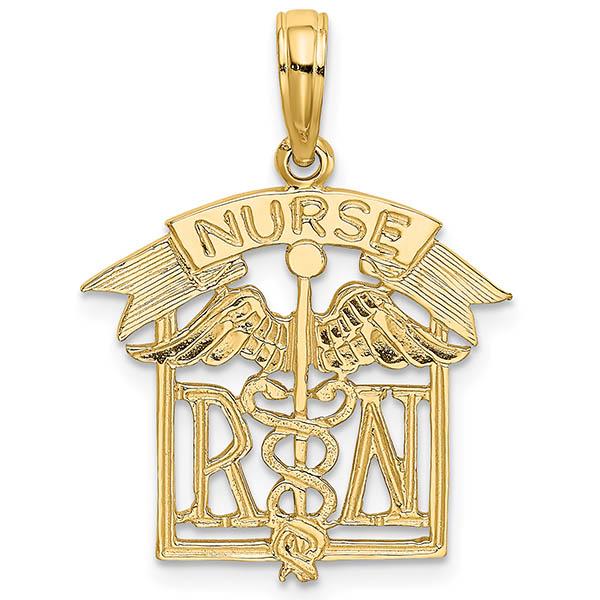 14K Gold Registered Nurse RN Pendant or Necklace