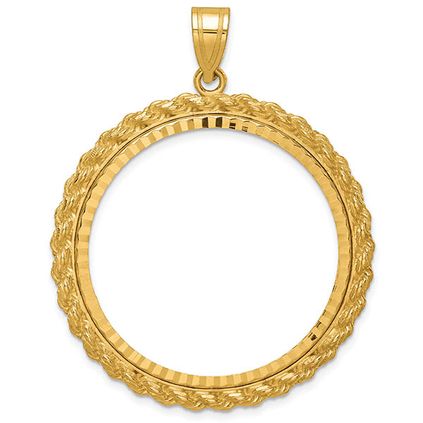 14K Gold Rope Bezel Pendant for 1 Oz. Gold Coin