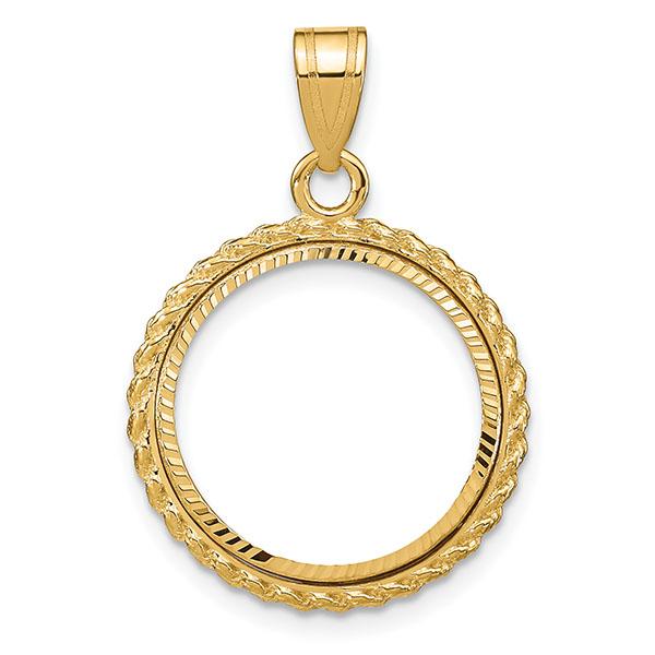 14K Gold Rope Bezel Pendant for 1/10 Oz. Gold Coin