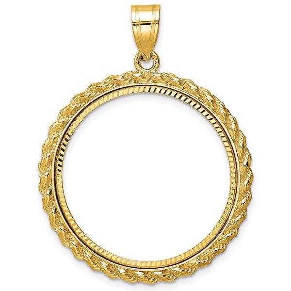 14K Gold Rope Bezel Pendant for 1/2 Oz. Gold Coin