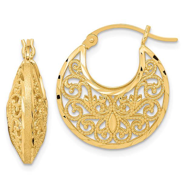 14K Gold Satin Filigree Hoop Earrings