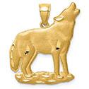 14K Gold Satin Wolf Pendant