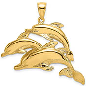 14K Gold School of 3 Dolphins Pendant