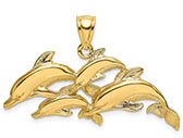 14K Gold School of Dolphins Pendant