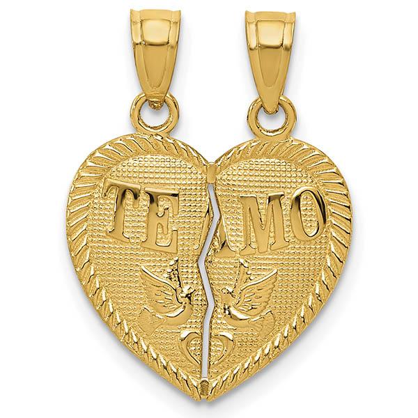 Te Amo 14K Gold Break Apart Heart Necklace