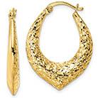 14K Gold Tear-Drop Textured Hoop Earrings