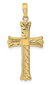 14K Gold Textured Square-Center Cross Pendant