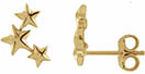 14K Gold Three Star Stud Earrings