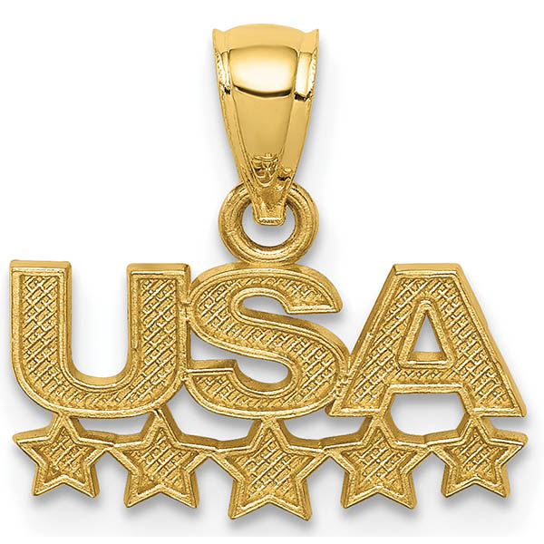 14K Gold USA Necklace Pendant with Stars