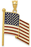 14K Gold Waving American Flag Pendant