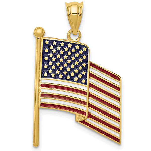 Red, White & Blue Enameled American Flag Pendants in 14K Solid Gold
