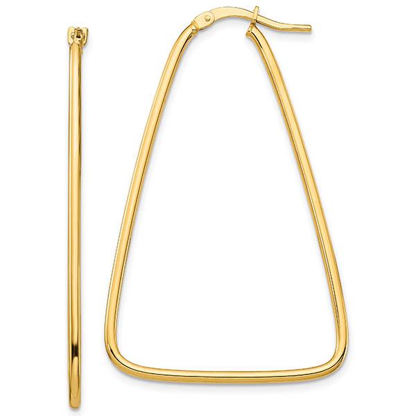 14K Italian Gold Triangle Hoop Earrings